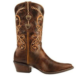 Durango Leather Embroidered Cowgirl Boots
